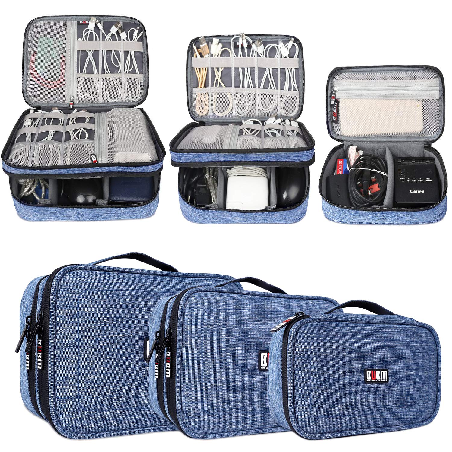 BUBM 3Pcs Universal Travel Cable Organizer Electronics Accessories Carry Bag for Cables, Cord, USB Flash Drive, Battery and More,Denim Blue by BUBM