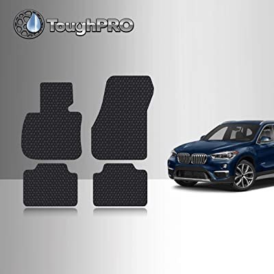 TOUGHPRO Floor Mat Accessories Set Compatible with BMW X1 - All Weather - Heavy Duty - (Made in USA) - Black Rubber - 2016, 2020, 2020, 2020, 2020 (Front Row + 2nd Row): Automotive