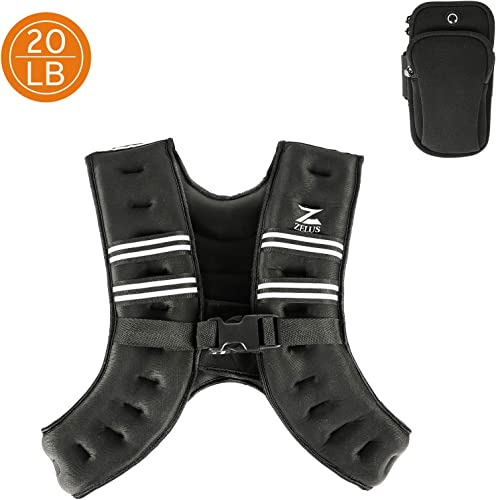 ZELUS Weighted Vest 20lbs 16lbs 12lbs 8lbs 6lbs 4lbs Weight Vest with Reflective Stripe for Workout, Strength Training, Running, Fitness, Muscle Building, Weight Loss, Weightlifting