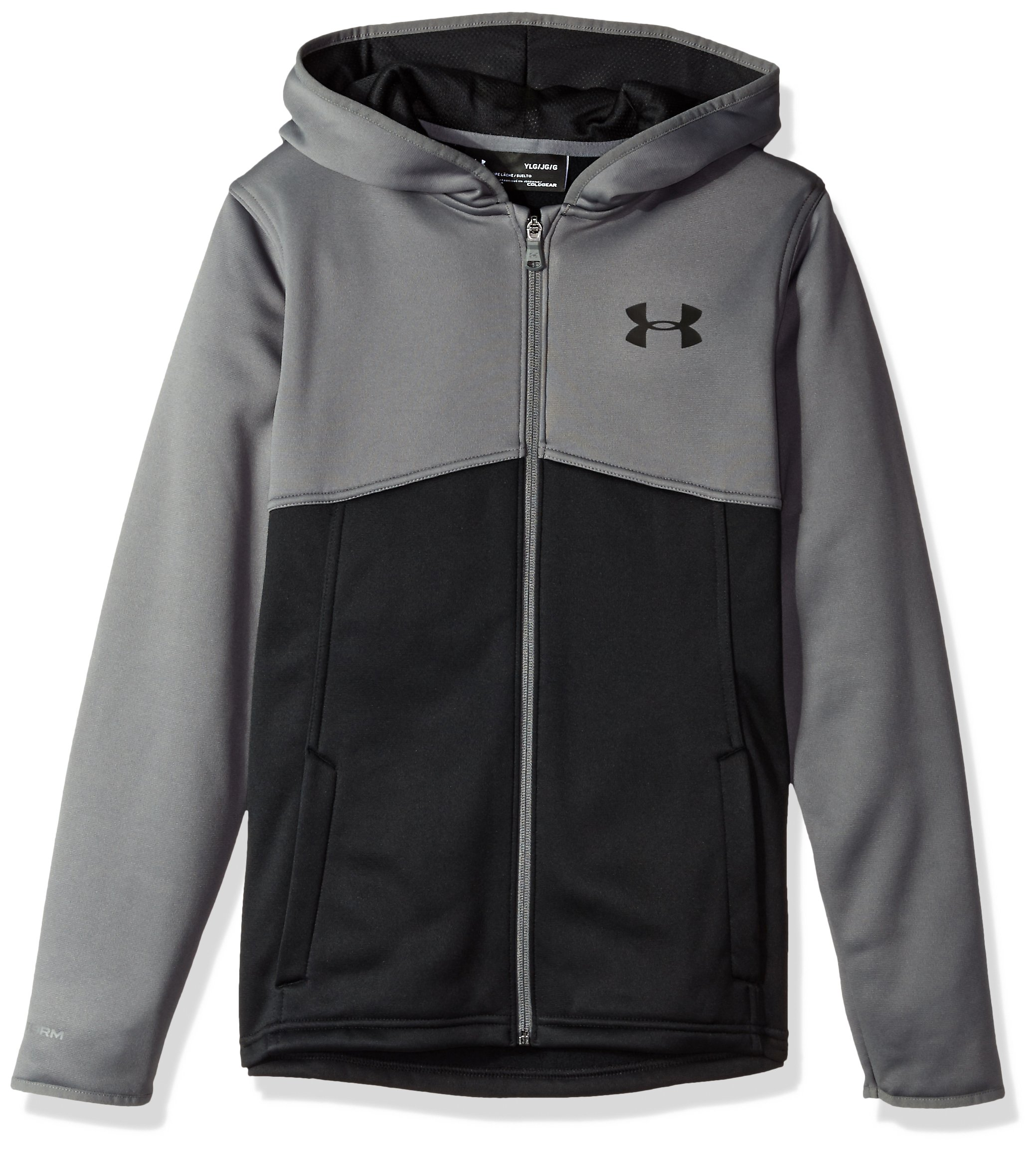 Under Armour Boys' Armour Fleece Full Zip Hoodie,Black (001)/Black, Youth X-Small