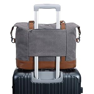 Women Ladies Canvas Weekender Bag Overnight Carry-on Tote Duffel in Trolley Handle (Grey)