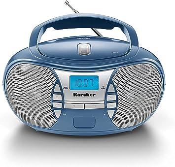 Karcher Rr 5025 C Tragbares Cd Radio Cd Player Boomboxen Ukw Radio Batterie Netzbetrieb Aux In Blau Heimkino Tv Video