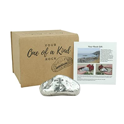 Pirantin 23rd Anniversary You are My Rock Gift Idea - Solid Metal Heavy Polished Rock Gift for 23 Year Anniversary : Garden & Outdoor