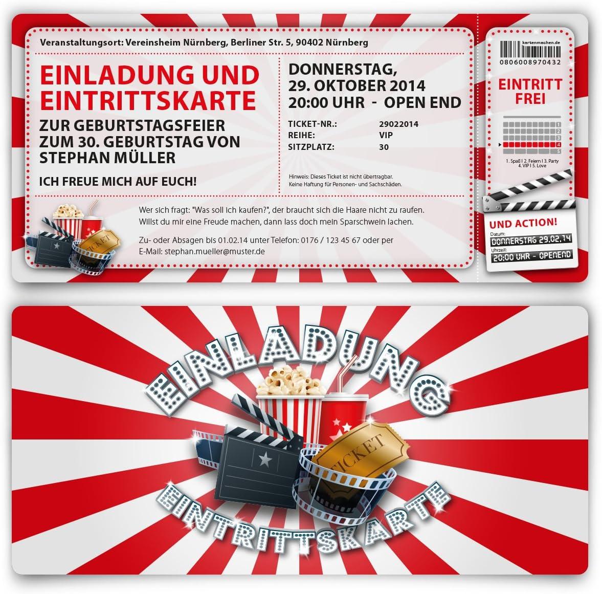 Einladungskarten zum Geburtstag mit Foto als Kinoticket Filmticket Abriss Coupon