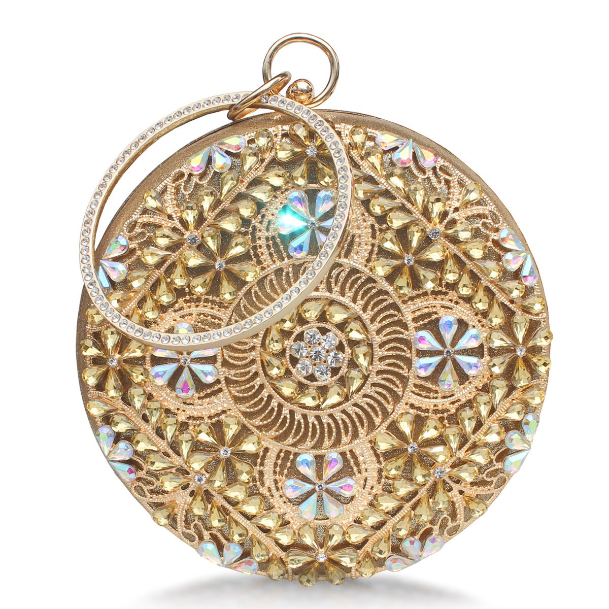 Womens Evening Bag Round Rhinestone Crystal Clutch Purse Ring Handle Handbag For Wedding and Party Gold.