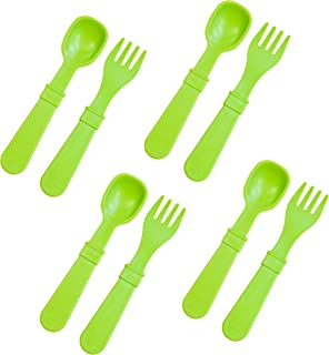 product image for Re-Play Made in The USA 8 Count Spoon and Fork Utensil Set for Baby and Toddler - Green