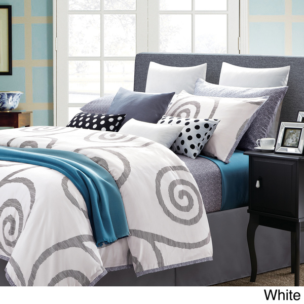 EverRouge Serenty Cotton Swirl 7-piece Duvet Set -- White