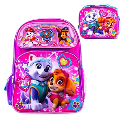 Paw Patrol Girls Backpack and Lunch Box Combo Pink School Bag Travel fun PUP POWER Girls (Backpack & LunchBox) | Kids' Backpacks