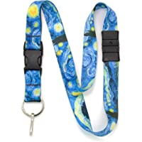 Buttonsmith Starry Night Breakaway Lanyard - with Buckle and Flat Ring - Made in The USA