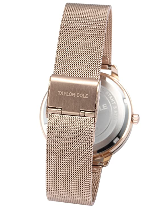 Amazon.com: Taylor Cole TC071 Ladies Quartz Rose Golden Stainless Steel Band Wrist Watch: Watches