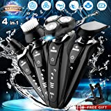 Electric Razor Shaver for Men, 4 in 1 Dry Wet Waterproof men's Rotary Shaver Portable Face Shaver Travel Rechargeable Beard Trimmer USB Cordless Nose Trimmer Facial Cleaning Brush for Dad, Husband