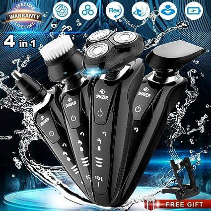 Afeitadora Eléctrica Hombre 4 en 1 Seco Mojado Impermeable Afeitadora  Rotativa Maquinilla de Afeitar Electrica Recargable f01db122b08d