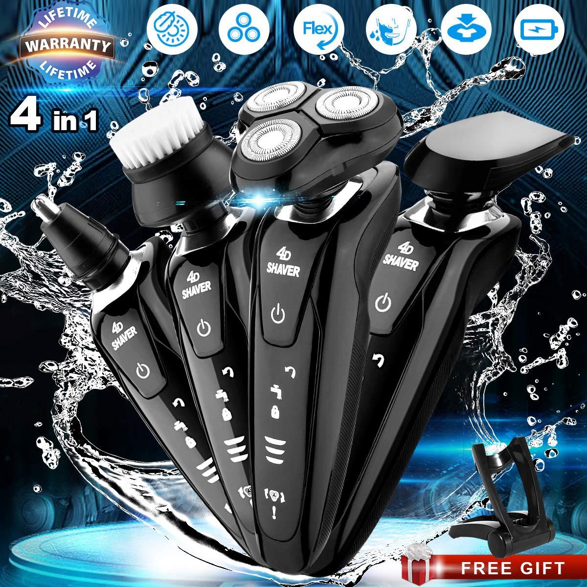 Afeitadora Eléctrica Hombre 4 en 1 Seco Mojado Impermeable Afeitadora  Rotativa Maquinilla de Afeitar Electrica Recargable c1b0f29e4d3a