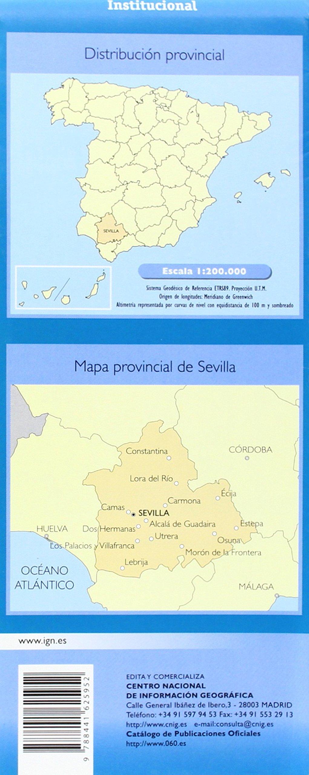CNIG - Mapa provincial de Sevilla , escala 1:200.000, dimensiones ...