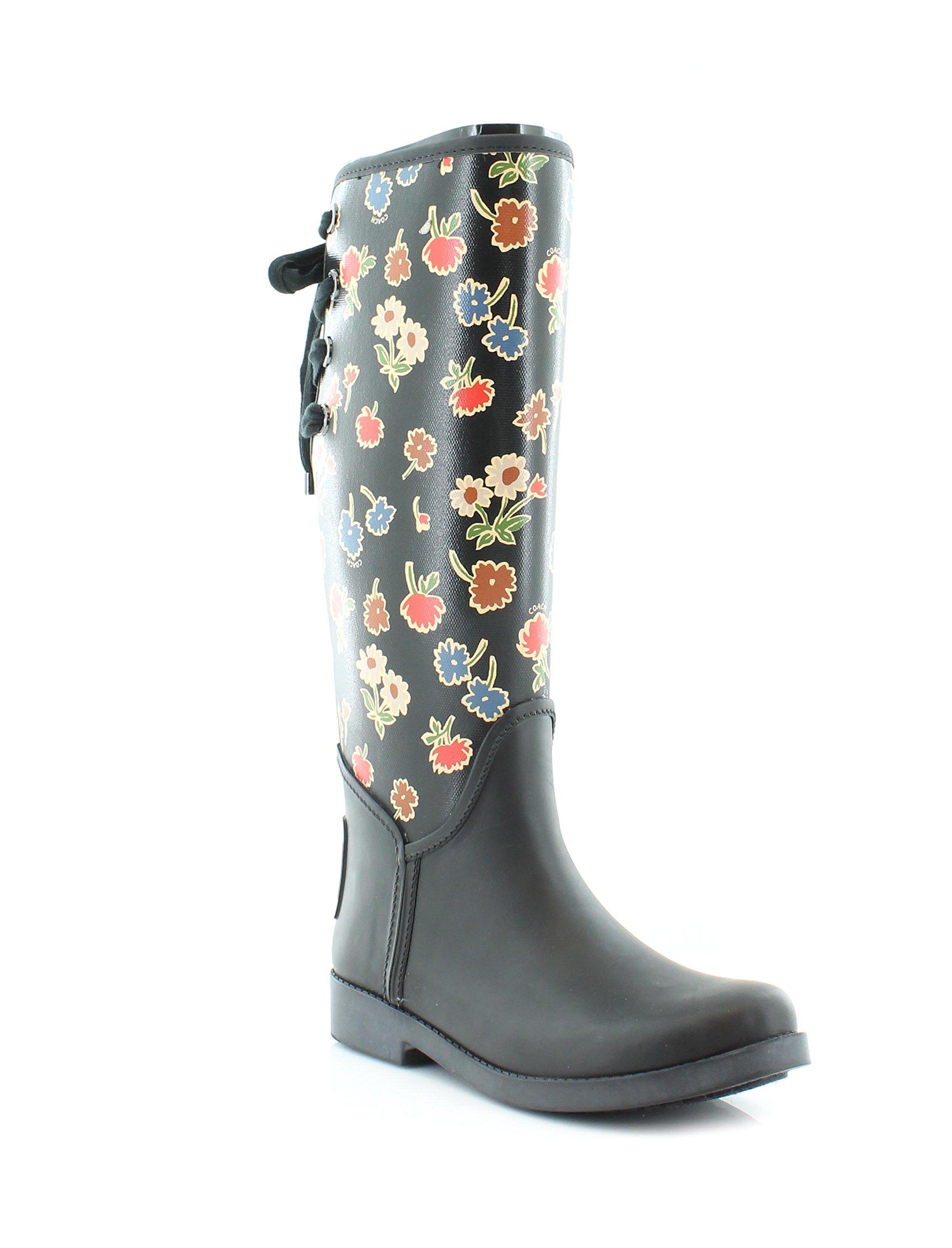 Coach Women's Tristee Black Black Multi Floral Rain Boots 7 (B)M, Style A01567