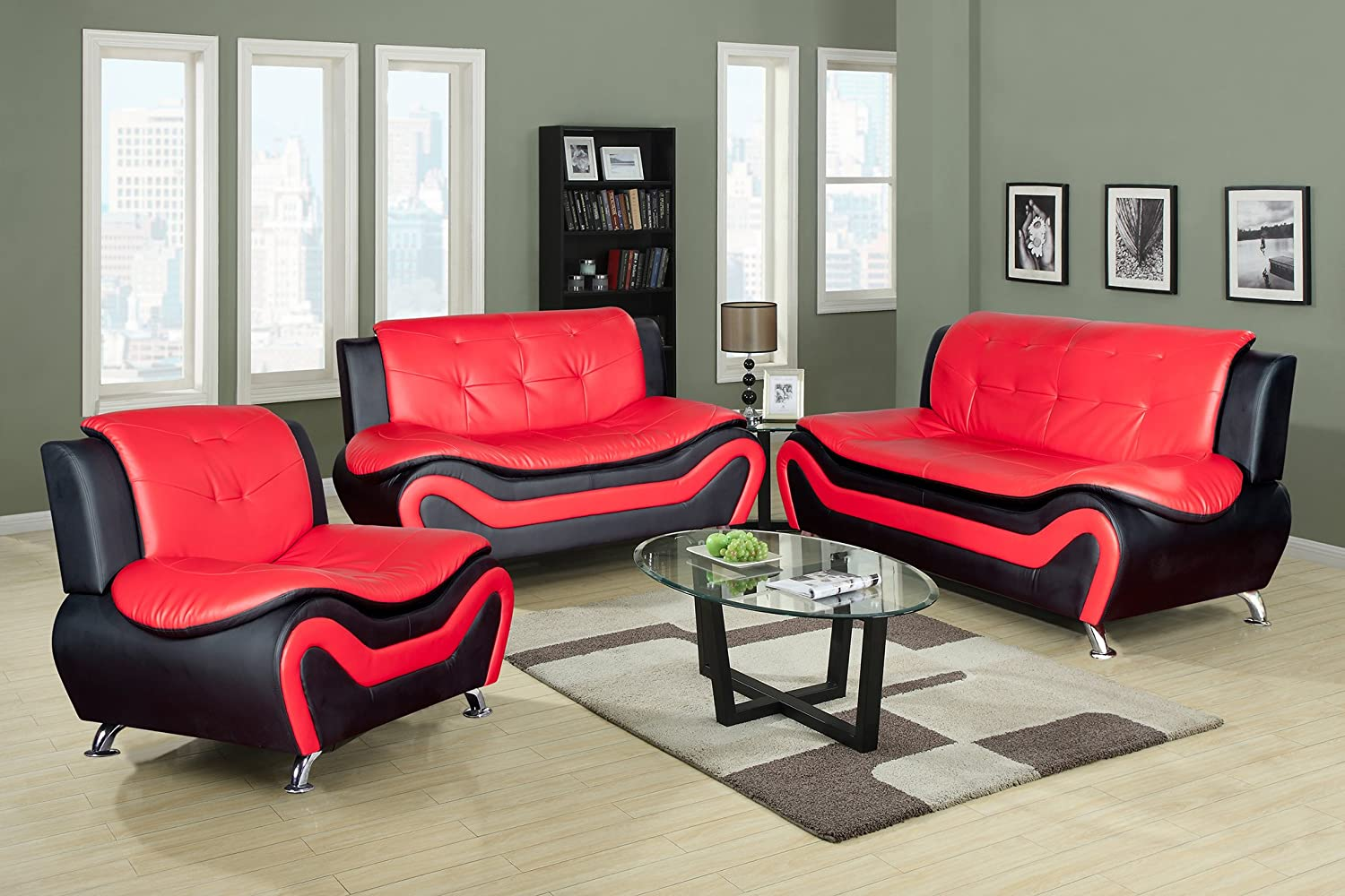 Home Garden Collections 3 Piece Faux Leather Contemporary Living Room Sofa, Love Seat, Chair Set, Black/Red