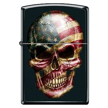 Amato Amazon.com: American Flag Skull Face Black Matte Custom Zippo  DM48