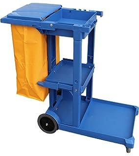 Carro de limpieza Profesional Plástico con tres bandejas con saco de vinilo de 100 Lt.