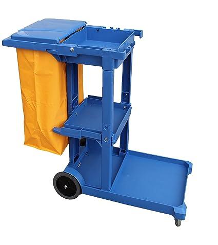Carro de limpieza Profesional Plástico con tres bandejas con saco de vinilo de 100 Lt. más tapadera. Medidas 120x52x96 cm. (L x F x A): Amazon.es: Industria ...