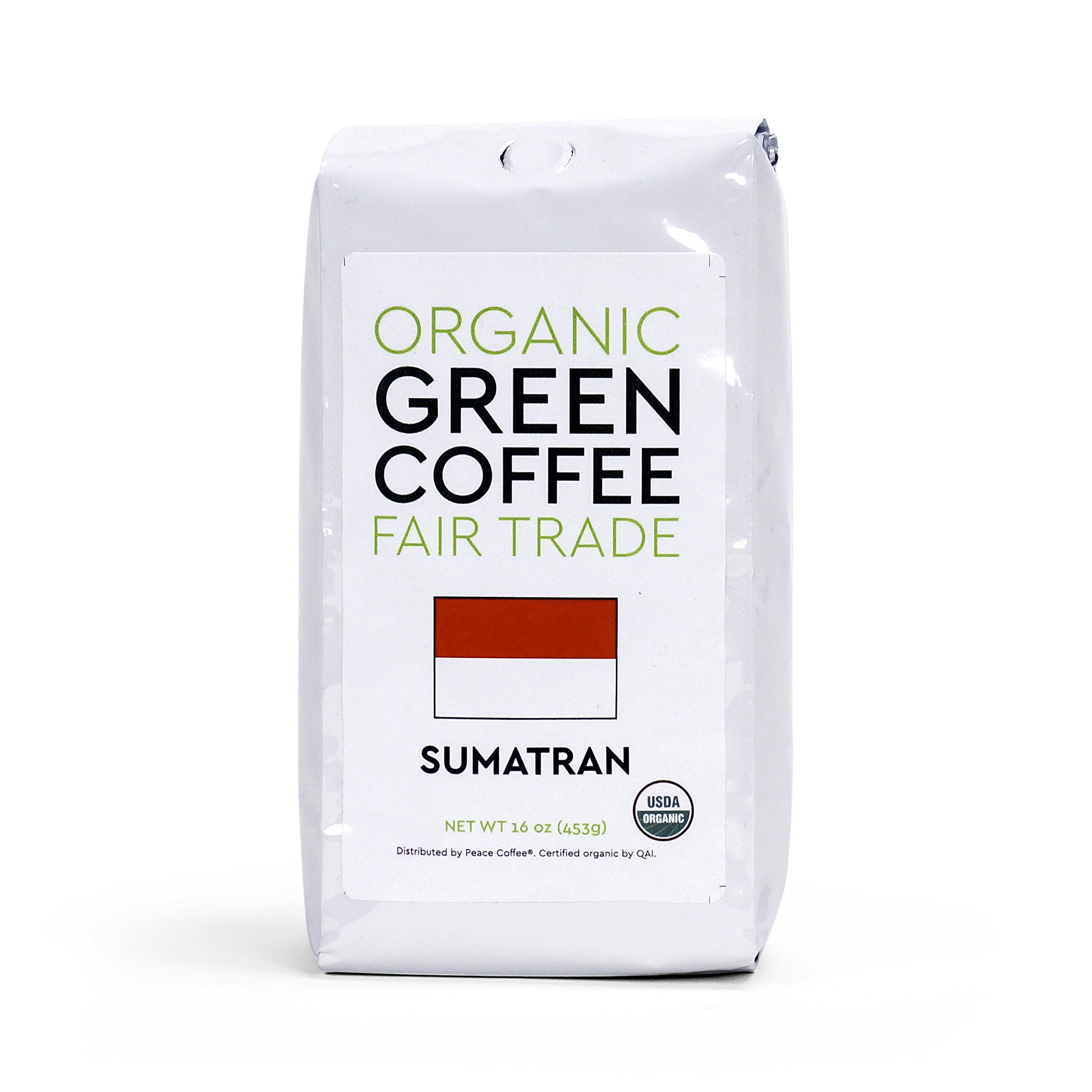 Peace Coffee Fair Trade Certified Organic Green Unroasted Coffee Beans (Sumatra Gayo Mountain Fair Trade Organic)