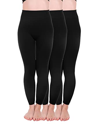 8f21b566ed21a Homma 3 Pack Extra-Thick French Terry Thermal Leggings (Small/Medium, Black