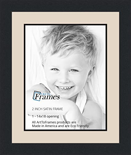 Amazon.com - 14x18 / 14 x 18 Picture Frame Satin Black .. 2\'\' wide ...