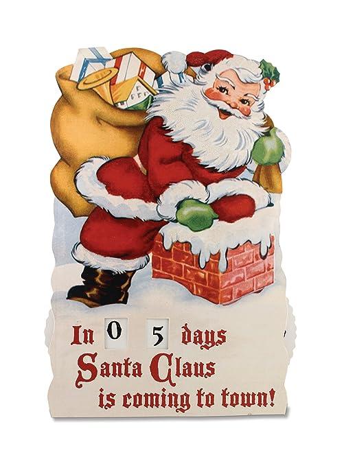 Countdown To Christmas Sign.Amazon Com Vintage Style Santa Countdown To Christmas Tin