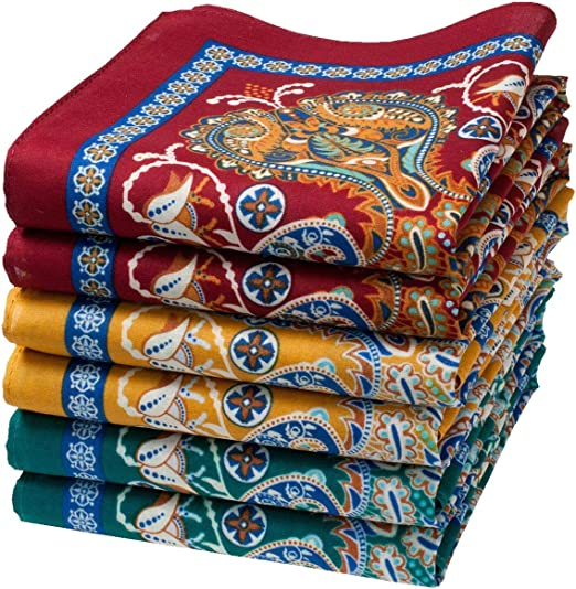 6 Pañuelos finos de inspiración oriental. - 100% algodón - Modelo « Samarcande »: Amazon.es: Hogar