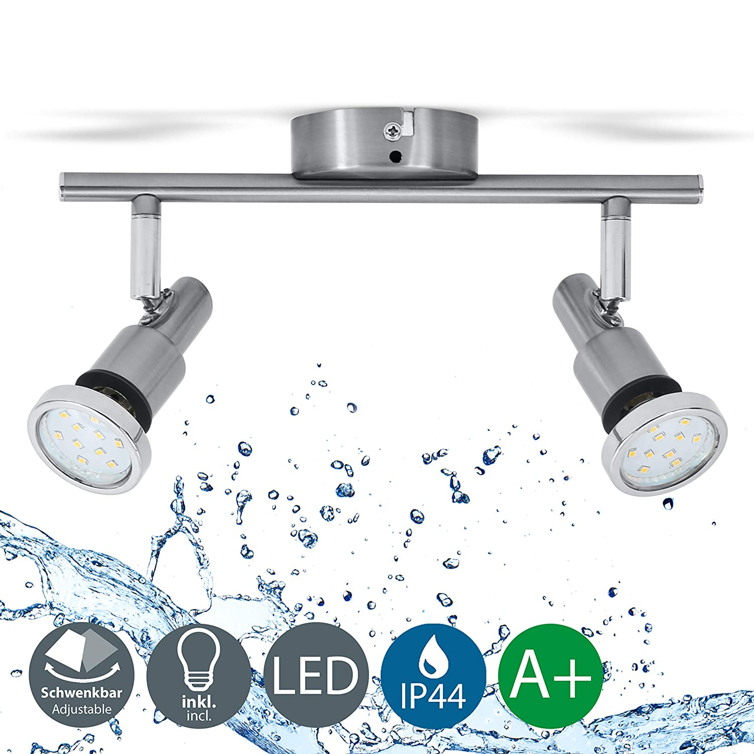 LED ceiling light rotatable I Bathroom lamp I spotlight for kitchen, living room & bedroom I ceiling lamp I spot I warm white I metal I matte titanium design I 2 x 3 W illuminant I 230 V I GU10 I IP44