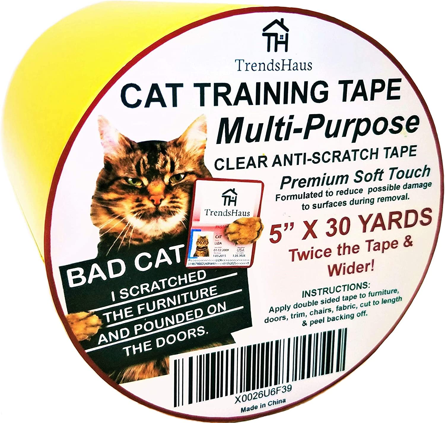 """TrendsHaus Cat Anti-Scratch Training Tape Clear 5"""" X30 Yards Extra Wide Multi-Purpose Soft Touch Furniture Safe Formula, Anti-Door-Paw-Pounding Training Tape"""