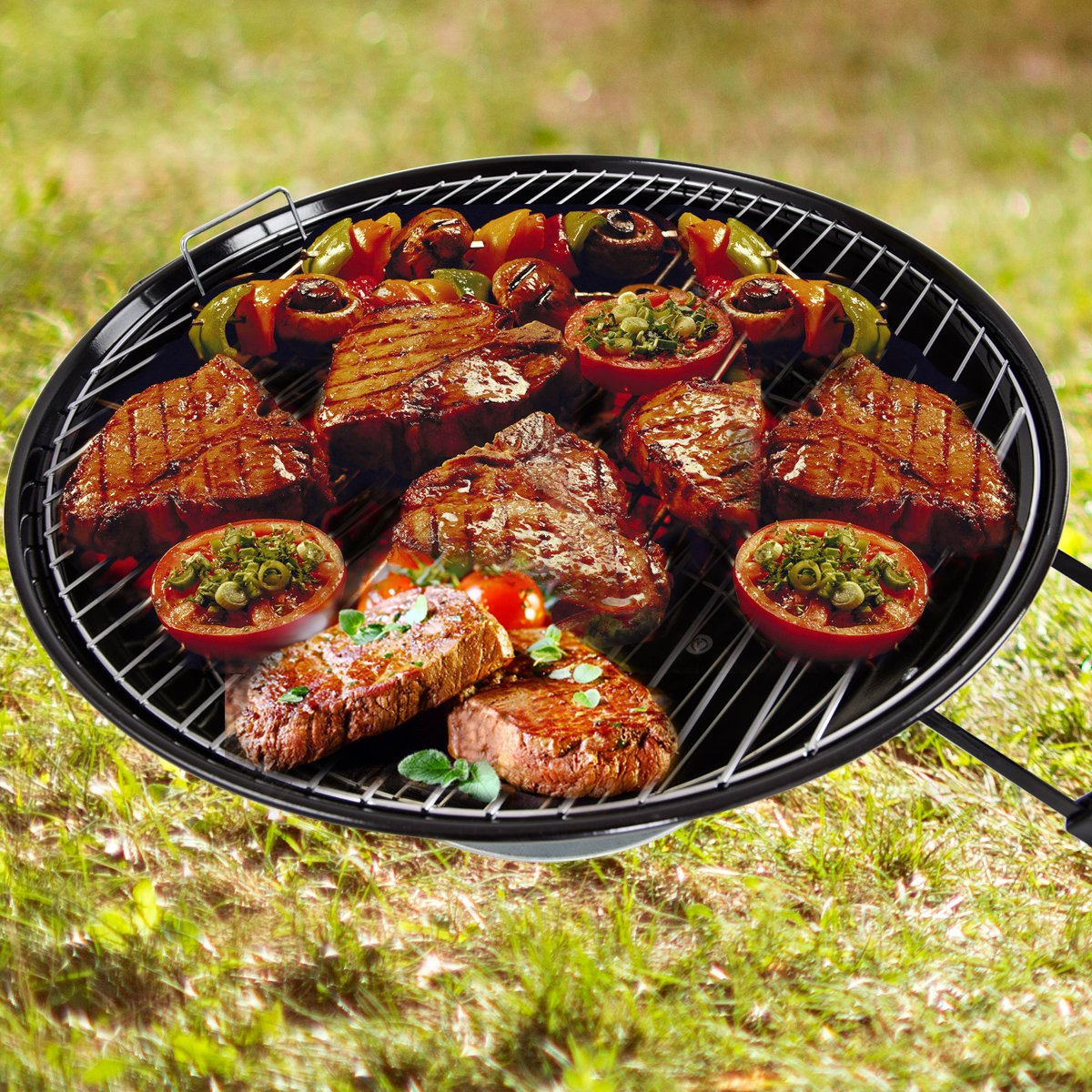 Costway Kettle Grill Portable BBQ Barbecue Charcoal With Wheels Round Standard Party Camping Garden Outdoor 2 Size 47CM/57CM (47CM)