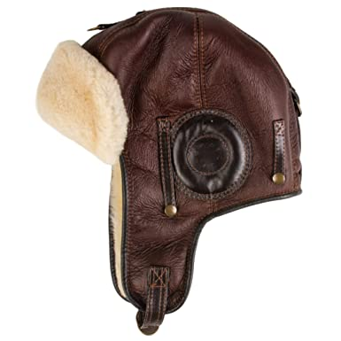 b9543bb1382c3 Men s Sheepskin Leather Bomber Hat Winter Trapper Hunting Hat Ushanka  Aviator Russian Hats Brown