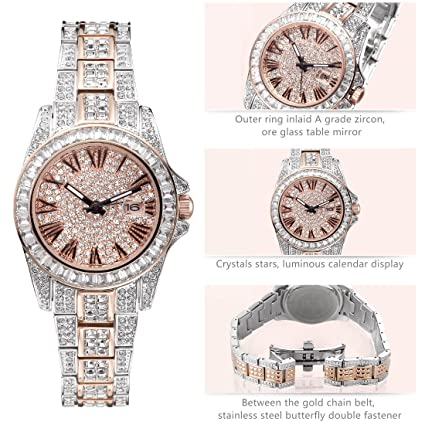 Amazon.com: Princess Butterfly Luxury Watch, Crystal Watches for Women, 2 Tone Japanese Quarts Movement Water Resistant, Women Watch Fashion Crystal Watch ...