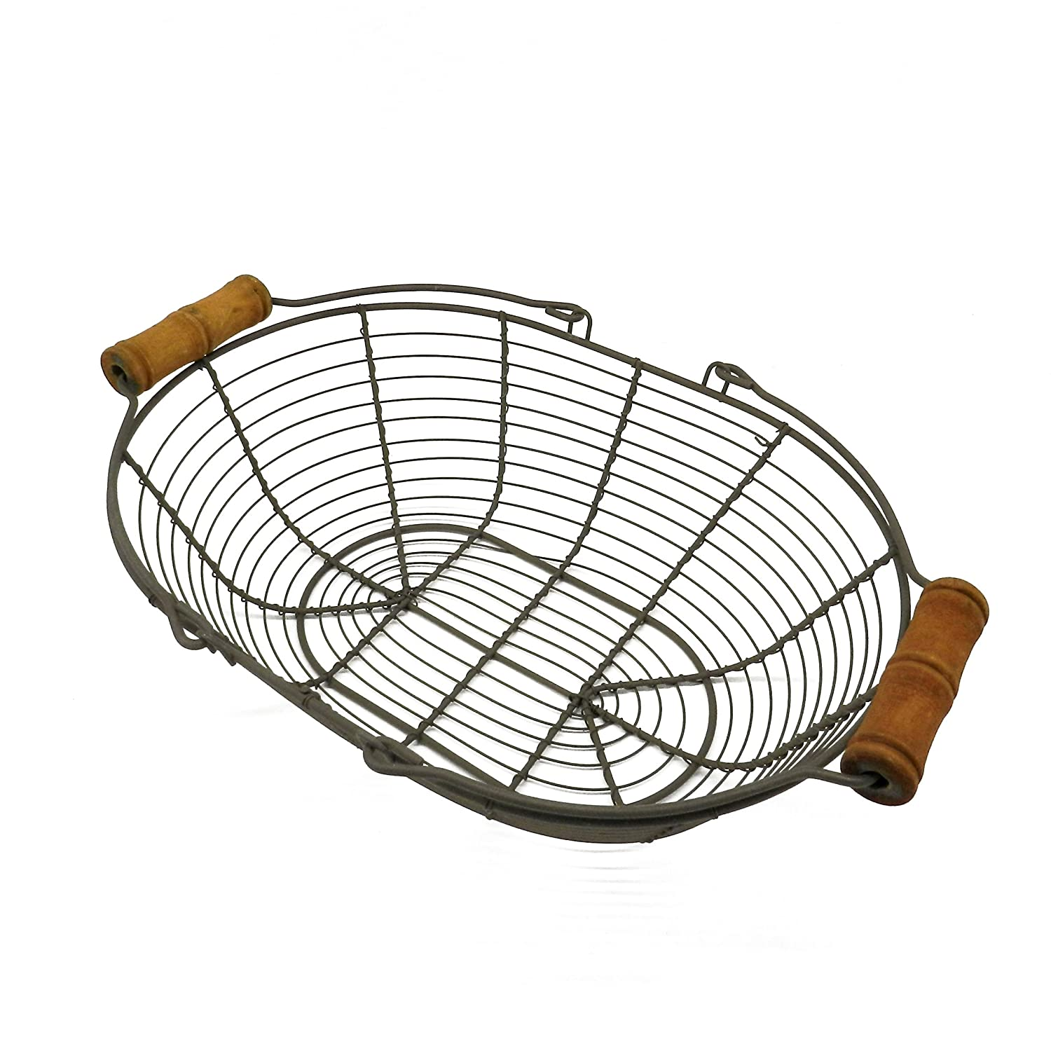 CVHOMEDECO. Oval Metal Wire Egg Basket Wire Basket with Wooden Handle Country Vintage Style Storage Basket. Rusty, 12-3/4