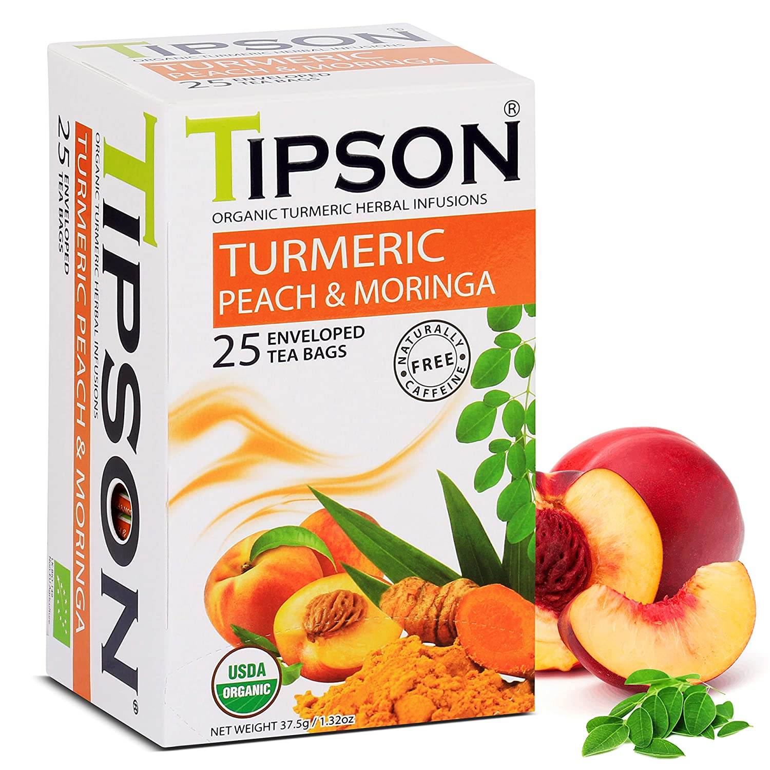 Tipson Organic Turmeric Caffeine Free Herbal Tea - Organic Moringa and Peach Flavor