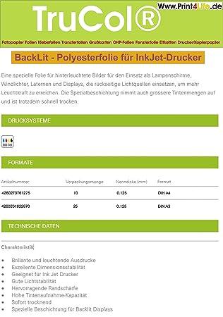 10 Blatt DIN A4 BACKLIT FOLIE. Eine spezielle Folie: Amazon.de ...