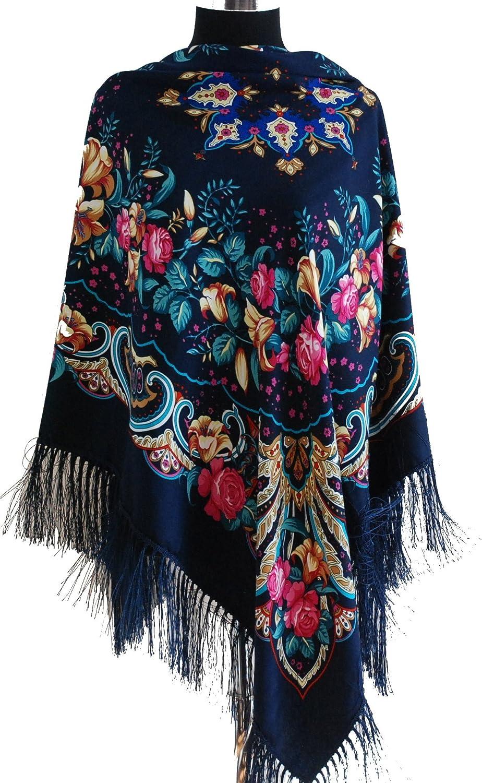 /écharpe m/élange de laine fleurs de lys All 4 Decor Beau grand motif floral cache-ch/âle style russe foulard Slaves
