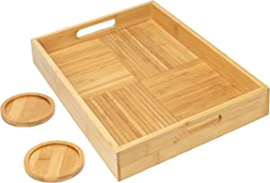 "Primesque Bamboo Serving Tray with Handles – Premium Decorative Rectangular Coffee Table and Ottoman Tray with 2 Bamboo Coasters – for Kitchen, Living Room, Bedroom and Vanity (16.5""x11""x2"")"