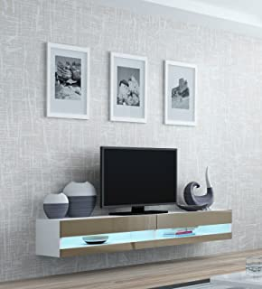 High Gloss TV Stand Entertainment Cabinet - 180cm Floating Wall ...