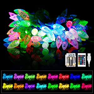 Outdoor LED Christmas String Lights 32.8ft 100 LEDs, USB & Battery Operated with IR Remote Control, Waterproof for Holiday Garden Party, ASYN Lighting Effect(Corn)