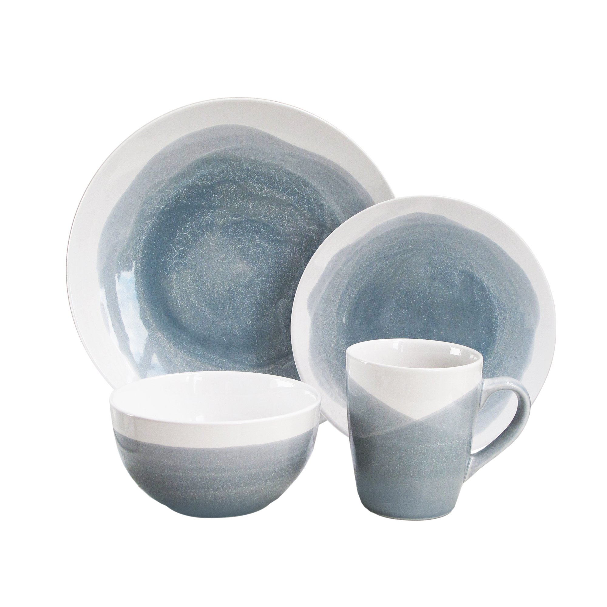 16 Piece Dinnerware Set for 4 Tableware Dishes Stoneware Gray/Blue ...