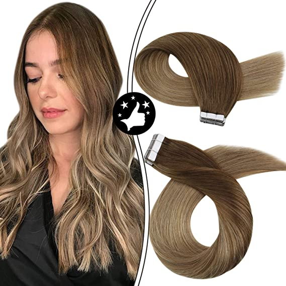 Image ofMoresoo 14 Pulgadas 20 Pieces Hair Extensions Balayage Extensions Human Hair Tape in Remy Hair Color Balayage Brown #8 Fading to #16 Brazilian Human Hair Extensions Glue on Hair