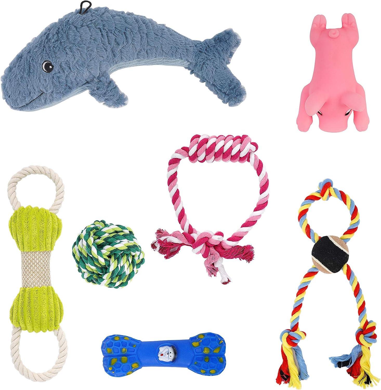 DZL- Juguetes para Perros 7 Piezas de Juguetes duraderos para Perros para Cachorros/Perros pequeños Mordedor Juegos Cuerdas Juguete complementos Aleatorio (PACK4)