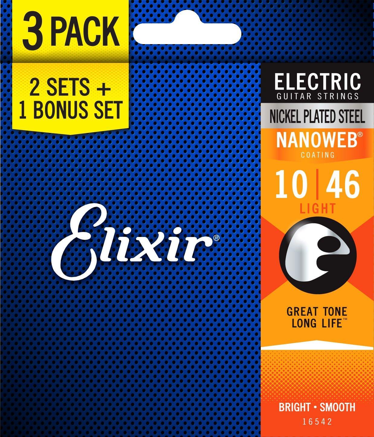Elixir Nanoweb Electric Guitar Strings (PACK de 3)