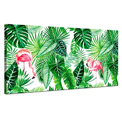 Canvas Wall Art Green Leaf Tropical Plants Simple Life Picture Artwork Pink Flamingo Tropical Art Canvas Art Minimalist Watercolor Painting Wall