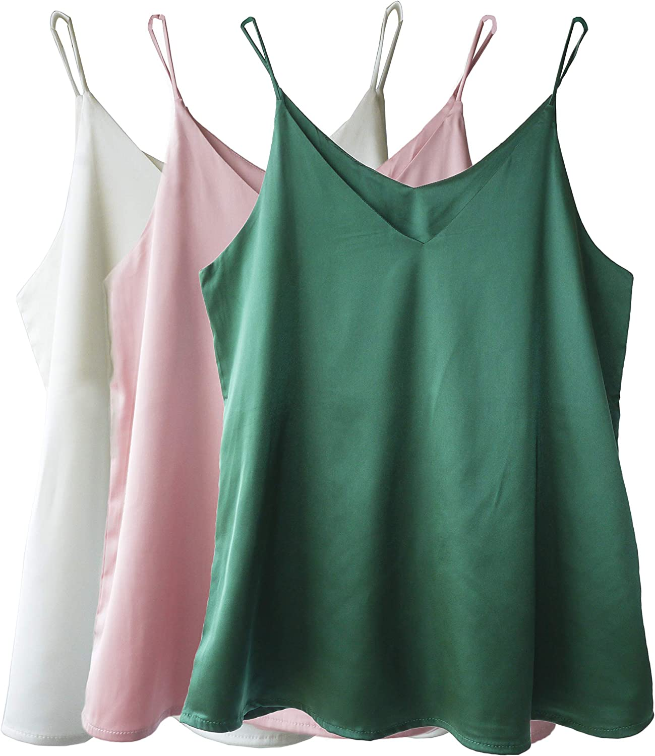 Wantschun Womens Silk Satin Camisole Cami Plain Strappy Vest Top T-Shirt Blouse Tank Shirt V-Neck Spaghetti Strap XXS-4XL at  Women's Clothing store