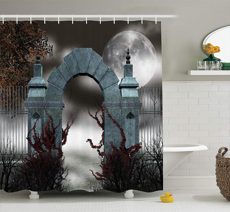 Nyngei Gothic Decor Collection Effrayante M/édi/évale du Moyen Age Porte de Pierre avec Brouillard Pleine Lune et Lierre Nuit Noire Th/ème th/ème Rideau deGris Rouge