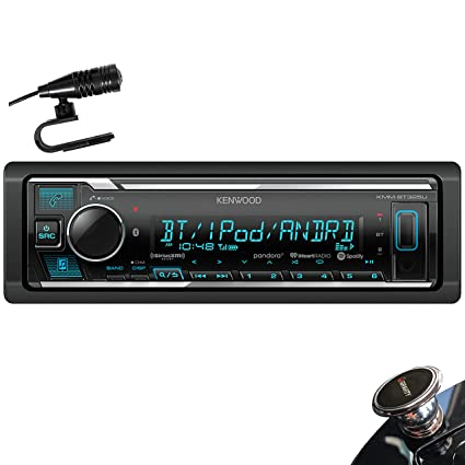 Kenwood KMM-BT325U Single DIN Bluetooth SiriusXM Ready In-Dash Digital  Media Car Stereo Receiver w/ Spotify Control + Gravity Magnet Holder
