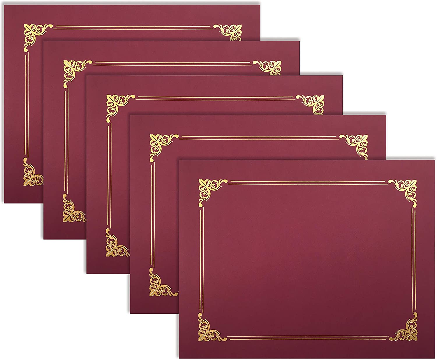25 Pack Red Certificate Holders, Diploma Holders, Document Covers with Gold Foil Border, by Better Office Products, for Letter Size Paper, 25 Count, Crimson Red