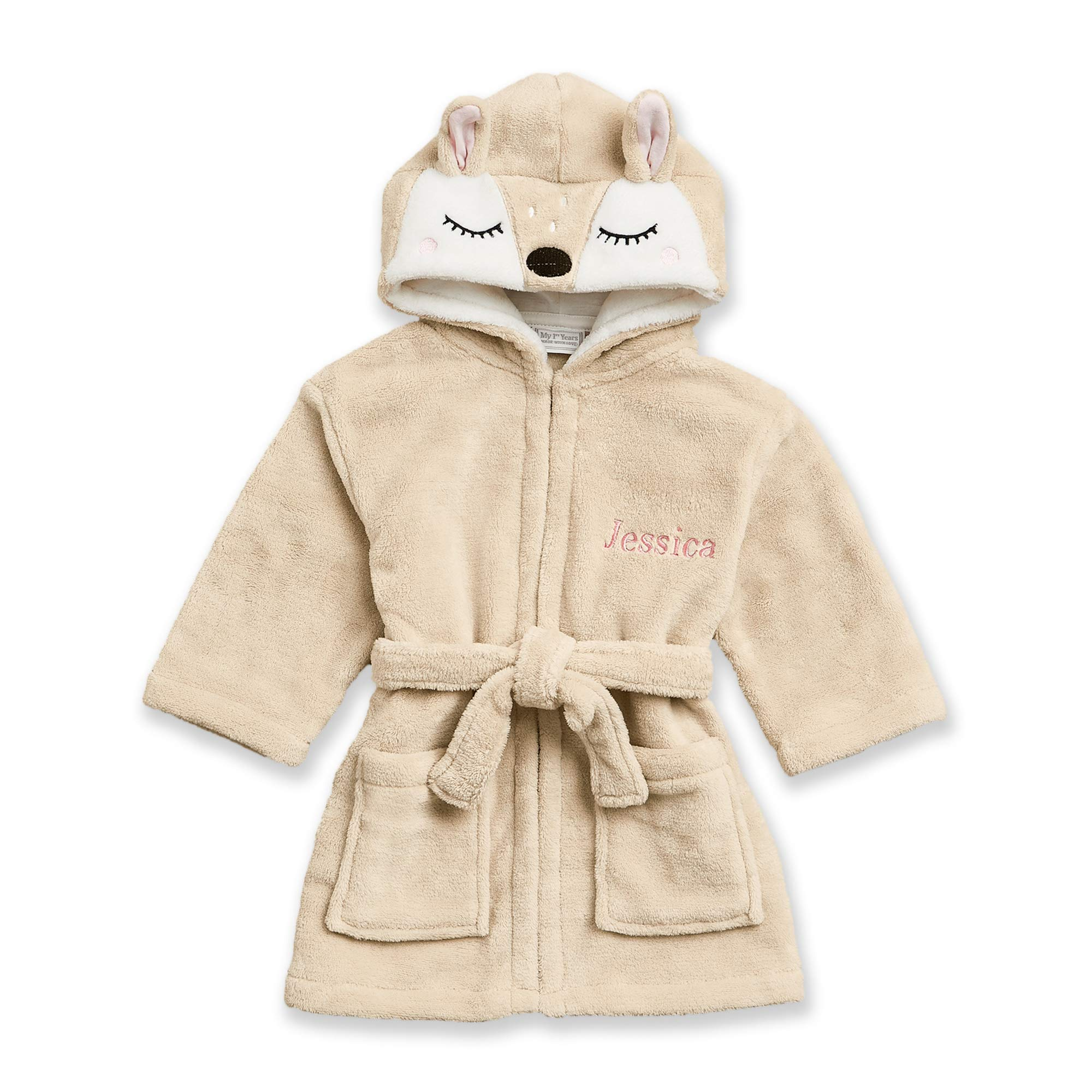 Personalized Bath Robe for Baby & Toddler - Adorable Fawn Soft Hooded Animal Bathrobe for Kids - The Perfect Custom Baby Gift for Boys & Girls - Gift Box Included by MY 1ST YEARS MADE WITH LOVE